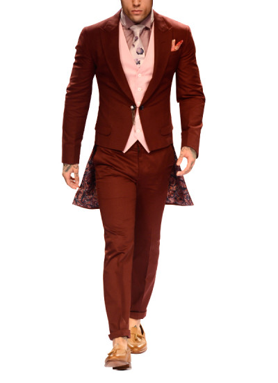 Indian Fashion Designers - Narendra Kumar - Contemporary Indian Designer - Maroon Tailcoat Jacket Set - NK-AW15-PDF-M9-1-2