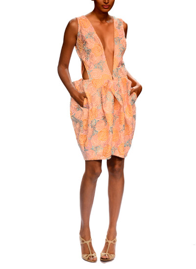 Indian Fashion Designers - Narendra Kumar - Contemporary Indian Designer - Sexy Pink Embroidered Dress - NK-AW15-PDF-W10