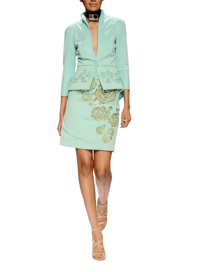 Indian Fashion Designers - Narendra Kumar - Contemporary Indian Designer - Mint Laser Cut Jacket Set - NK-AW15-PDF-W12-1