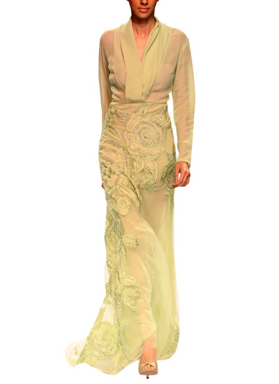 Indian Fashion Designers - Narendra Kumar - Contemporary Indian Designer - Mint Green Embroidered Gown - NK-AW15-PDF-W13