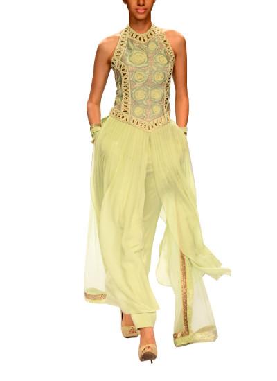 Indian Fashion Designers - Narendra Kumar - Contemporary Indian Designer - Indian Inspired Halter Style Kurta Set - NK-AW15-PDF-W16