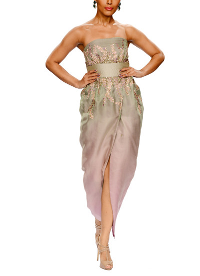 Indian Fashion Designers - Narendra Kumar - Contemporary Indian Designer - Sparkling Ombre Wrap Style Dress - NK-AW15-PDF-W17