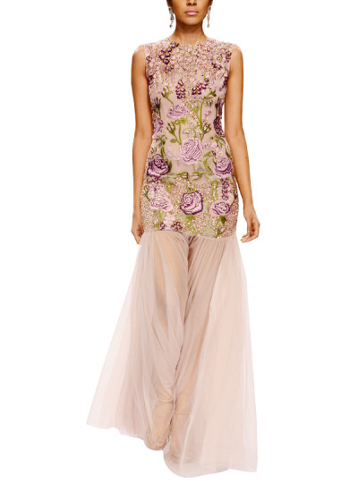 Indian Fashion Designers - Narendra Kumar - Contemporary Indian Designer - Lavender Embroidered Net Gown - NK-AW15-PDF-W19