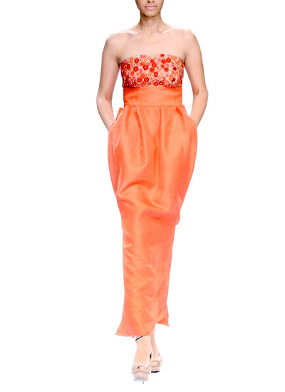 Indian Fashion Designers - Narendra Kumar - Contemporary Indian Designer - Coral Off-Shoulder Gown - NK-AW15-PDF-W2