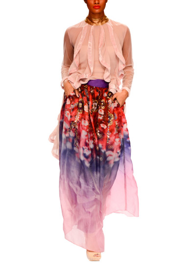 Indian Fashion Designers - Narendra Kumar - Contemporary Indian Designer - Stylish Ruffled Set - NK-AW15-PDF-W21-1
