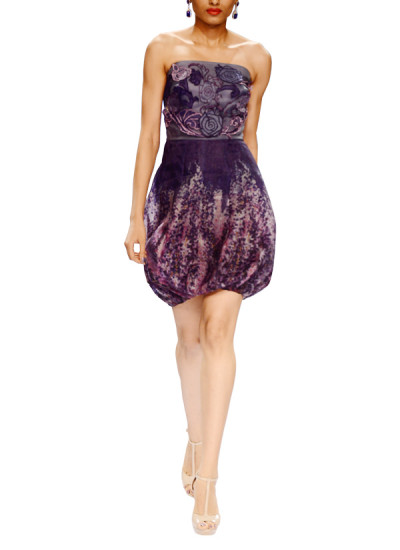 Indian Fashion Designers - Narendra Kumar - Contemporary Indian Designer - Violet Balloon Dress - NK-AW15-PDF-W23