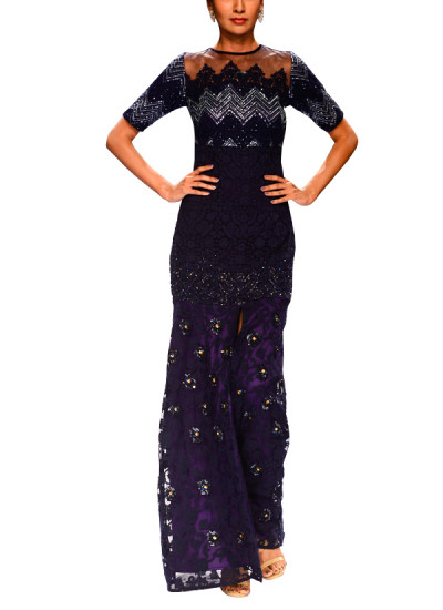 Indian Fashion Designers - Narendra Kumar - Contemporary Indian Designer - Sparkling Violet Embroidered Gown - NK-AW15-PDF-W26