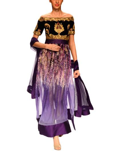 Indian Fashion Designers - Narendra Kumar - Contemporary Indian Designer - Stylish Violet Kurta Set - NK-AW15-PDF-W29