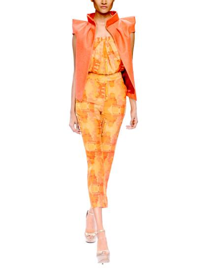 Indian Fashion Designers - Narendra Kumar - Contemporary Indian Designer - Orange Printed Jumpsuit - NK-AW15-PDF-W3-1