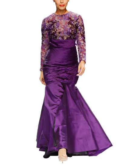 Indian Fashion Designers - Narendra Kumar - Contemporary Indian Designer - Structured Violet and Silver Gown - NK-AW15-PDF-W30