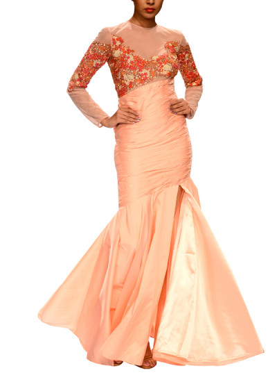 Indian Fashion Designers - Narendra Kumar - Contemporary Indian Designer - Pink Pleated Fishtail Gown - NK-AW15-PDF-W31