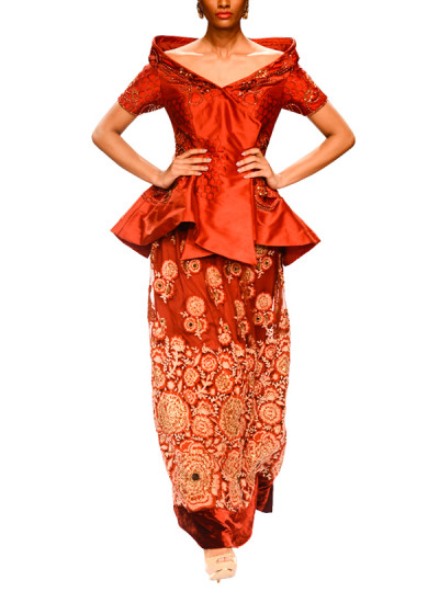 Indian Fashion Designers - Narendra Kumar - Contemporary Indian Designer - Red Embroidered Lehenga and Jacket Set - NK-AW15-PDF-W33