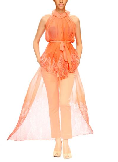 Indian Fashion Designers - Narendra Kumar - Contemporary Indian Designer - Pretty Peach Top Set - NK-AW15-PDF-W4-1