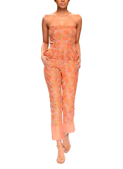 Indian Fashion Designers - Narendra Kumar - Contemporary Indian Designer - Pink Embroidered Jumpsuit - NK-AW15-PDF-W7