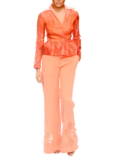 Indian Fashion Designers - Narendra Kumar - Contemporary Indian Designer - Chic Coral Shirt Set - NK-AW15-PDF-W8-1