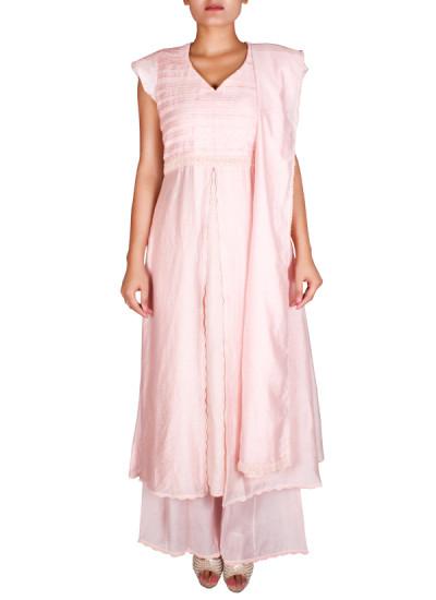 Indian Fashion Designers - Nausheen Osmany - Contemporary Indian Designer - Gorgeous Light Pink Anarkali - NO-SS16-NO-SS01-N1109
