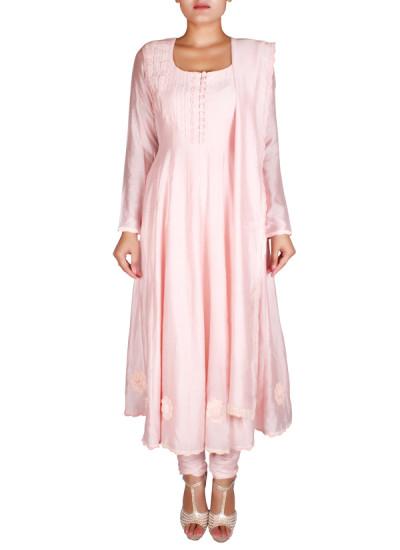 Indian Fashion Designers - Nausheen Osmany - Contemporary Indian Designer - Classic Light Pink Anarkali - NO-SS16-NO-SS02-N1110