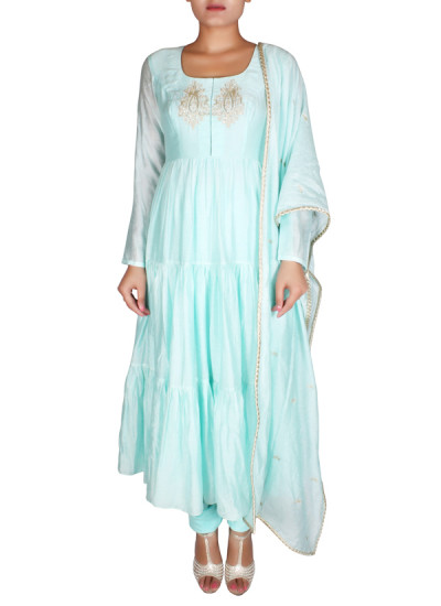 Indian Fashion Designers - Nausheen Osmany - Contemporary Indian Designer - Flowy Sea Green Anarkali - NO-SS16-NO-SS04-N1112