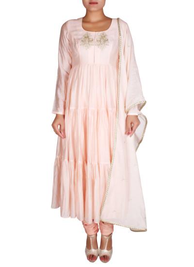 Indian Fashion Designers - Nausheen Osmany - Contemporary Indian Designer - Peach Pink Flowy Anarkali - NO-SS16-NO-SS06-N1114