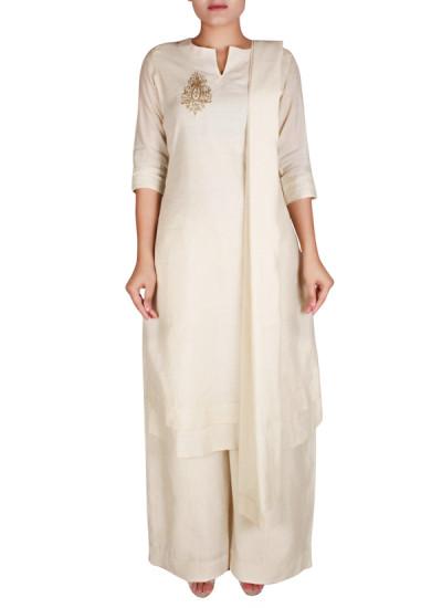 Indian Fashion Designers - Nausheen Osmany - Contemporary Indian Designer - Classic Beige Kurta With Pallazo - NO-SS16-NO-SS07-N1115