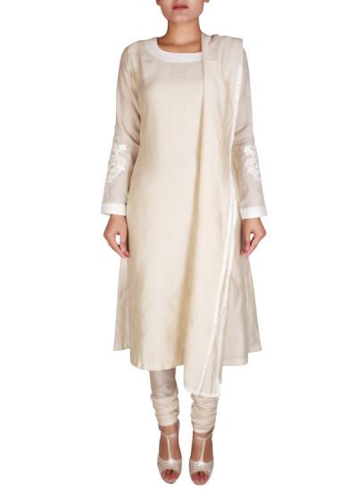 Indian Fashion Designers - Nausheen Osmany - Contemporary Indian Designer - Beige Straight Fit Kurta - NO-SS16-NO-SS09-N1117