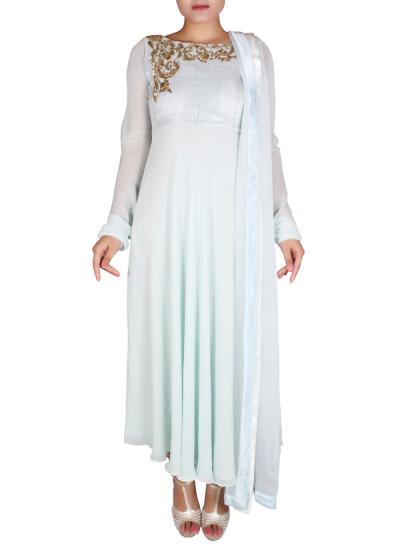 Indian Fashion Designers - Nausheen Osmany - Contemporary Indian Designer - Flowy Sky Blue Anarkali - NO-SS16-NO-SS10-N1078