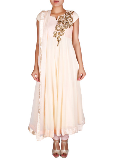 Indian Fashion Designers - Nausheen Osmany - Contemporary Indian Designer - Peach georgette anarkali - NO-SS16-NO-SS12-N1080