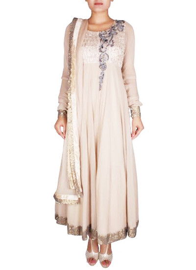 Indian Fashion Designers - Nausheen Osmany - Contemporary Indian Designer - Beige Raw Silk And Georgette Anarkali - NO-SS16-NO-SS15-N1086