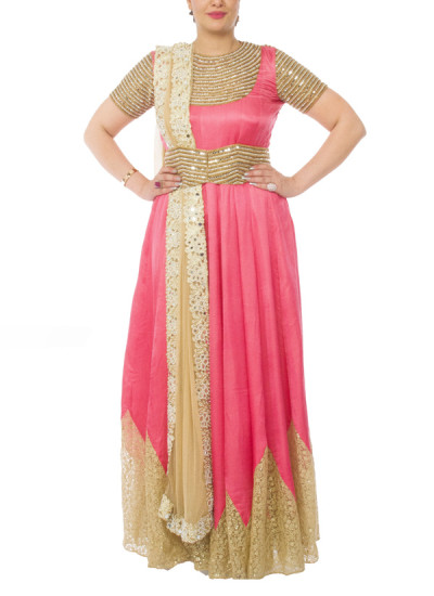 Indian Fashion Designers - Neehara - Contemporary Indian Designer - Coral Floor Length Anarkali - NH-SS16-NH-12