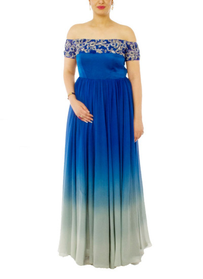 Indian Fashion Designers - Neehara - Contemporary Indian Designer - Snorkel Blue Ombre Gown - NH-SS16-NH-BT7
