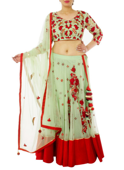 Indian Fashion Designers - Neehara - Contemporary Indian Designer - Mint Green and Red Lehenga Set - NH-SS16-NH-BT8