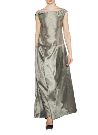 Indian Fashion Designers - Omar Mansoor - Contemporary Indian Designer - Pewter Raw Silk Long Dress - OMS-AW16-OMAW153