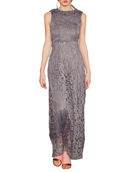 Indian Fashion Designers - Omar Mansoor - Contemporary Indian Designer - Grey Cowl back Dress - OMS-AW16-OMAW163