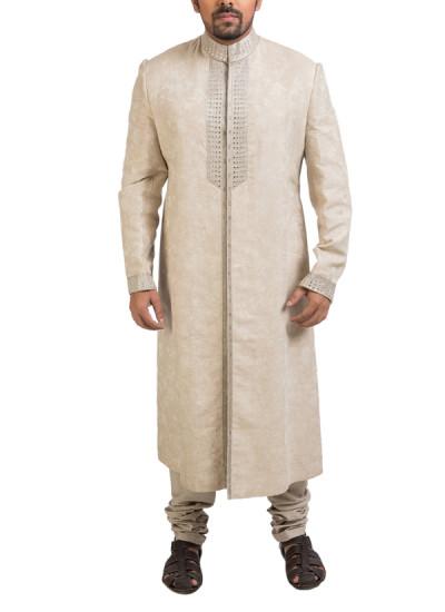 Indian Fashion Designers - Poonam Kasera - Contemporary Indian Designer - Beige Linen Sherwani - PKR-SS16-DG-276