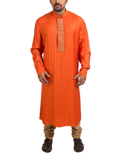 Indian Fashion Designers - Poonam Kasera - Contemporary Indian Designer - Orange Hand Painted Kurta - PKR-SS16-DG578