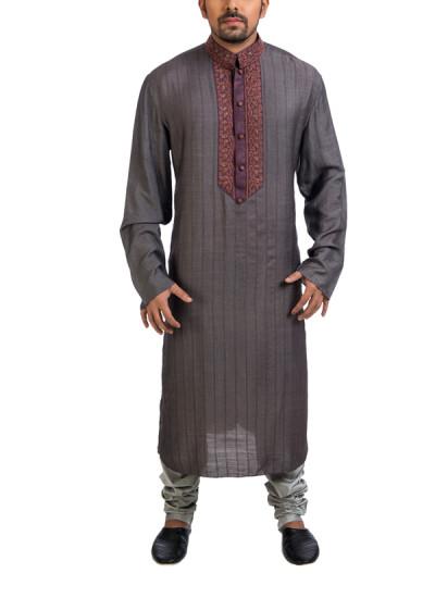 Indian Fashion Designers - Poonam Kasera - Contemporary Indian Designer - Grey Aari Embroidered Kurta - PKR-SS16-DG583GRY