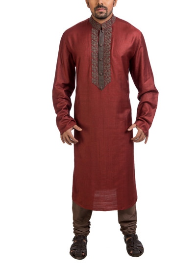 Indian Fashion Designers - Poonam Kasera - Contemporary Indian Designer - Embroidered Maroon Kurta - PKR-SS16-DG606