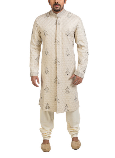 Indian Fashion Designers - Poonam Kasera - Contemporary Indian Designer - Bead Embellished Sherwani - PKR-SS16-S-36