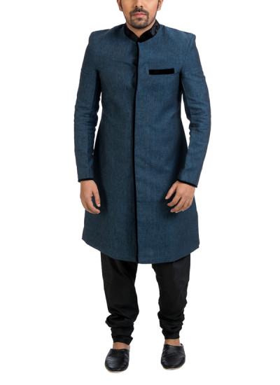 Indian Fashion Designers - Poonam Kasera - Contemporary Indian Designer - Velvet Collared Linen Achkan - PKR-SS16-S-41