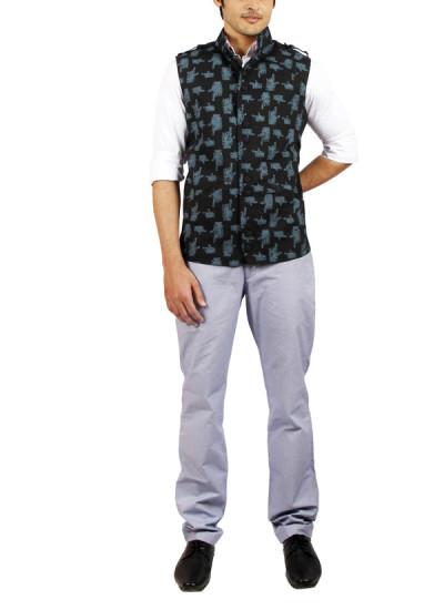 Indian Fashion Designers - Pulpypapaya - Contemporary Indian Designer - Black Ikkat Khadi Jacket - PP-SS16-KHJKBKM5001ABJJ