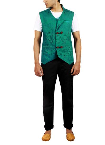 Indian Fashion Designers - Pulpypapaya - Contemporary Indian Designer - Green Ikkat Khadi Jacket - PP-SS16-KHJKGRM5003ABJJ