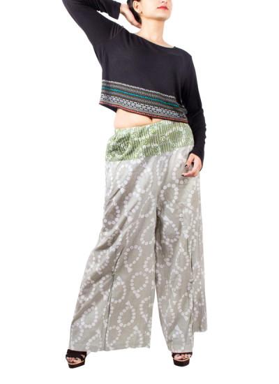 Indian Fashion Designers - Pulpypapaya - Contemporary Indian Designer - Butflare Batik Palazzo - PP-SS16-BKPZGR6011CEJ