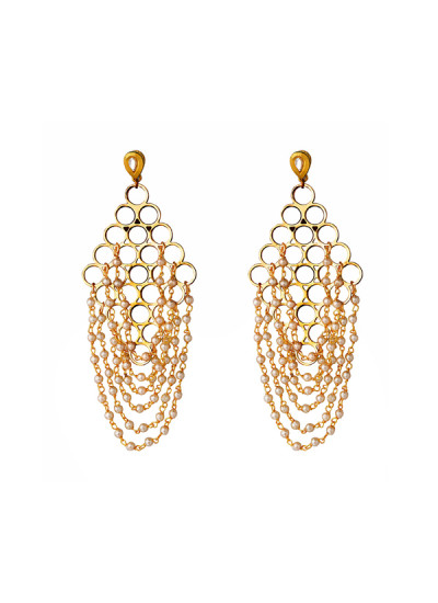 Indian Fashion Designers - Rejuvenate Jewels - Contemporary Indian Designer - Hanging Pearls Jaali - RJJ-SS16-RJE528