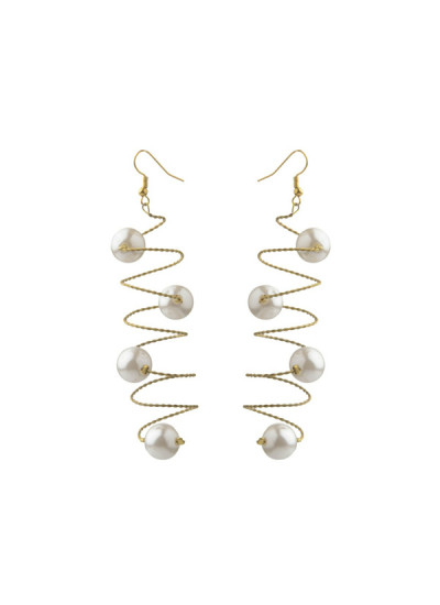 Indian Fashion Designers - Rejuvenate Jewels - Contemporary Indian Designer - White Curly Earrings - RJJ-SS16-RJE546