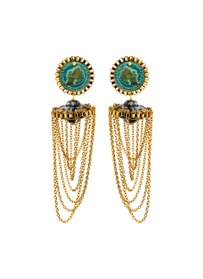Indian Fashion Designers - Rejuvenate Jewels - Contemporary Indian Designer - Hanging Heritage Earrings - RJJ-SS16-RJE578