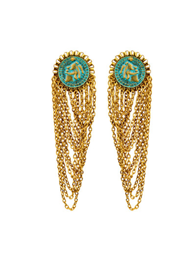 Indian Fashion Designers - Rejuvenate Jewels - Contemporary Indian Designer - Heritage Chain control Earrings - RJJ-SS16-RJE579