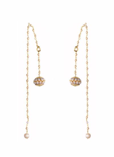 Indian Fashion Designers - Rejuvenate Jewels - Contemporary Indian Designer - Pearl Hairchain Earcuff - RJJ-SS16-RJEC314