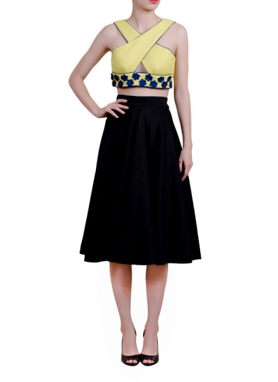 Indian Fashion Designers - Riddhi And Revika - Contemporary Indian Designer - Yellow Top with Navy Motifs - RRI-AW16-CRP-TP-LNFM