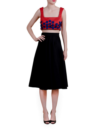 Indian Fashion Designers - Riddhi And Revika - Contemporary Indian Designer - Crop Top with Floral Motifs - RRI-AW16-CRP-TP-RNFM