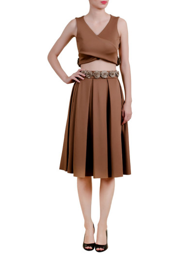 Indian Fashion Designers - Riddhi And Revika - Contemporary Indian Designer - Bronze Crop Top and Skirt - RRI-AW16-CRP-TP-SKT-BNG